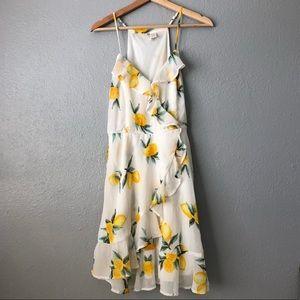 Japna White and Yellow Lemon Ruffled Dress